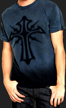 Men's Tribal Cross T-shirt in color Sapphire